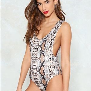 Nasty Gal Tops - NWT Nasty Gal Snake Print Scoop Bodysuit